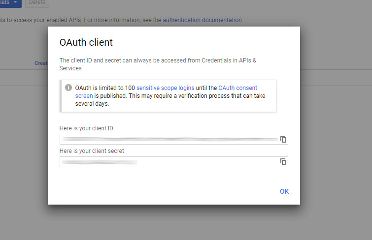 Google: OAuth client ID and secret