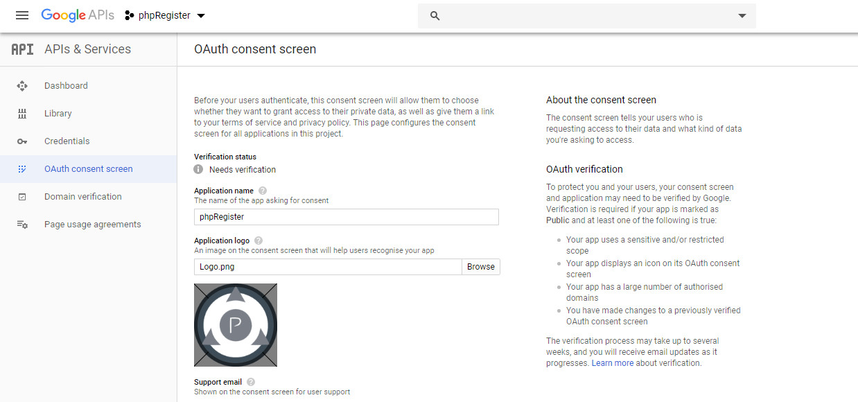 Google: OAuth consent screen 1